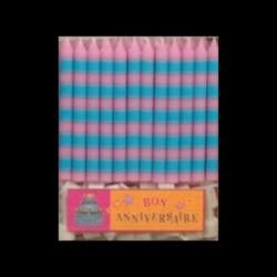 Bougies classiques à rayures bleu/rose
