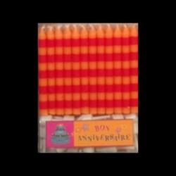 Bougies classiques à rayures orange/rouge