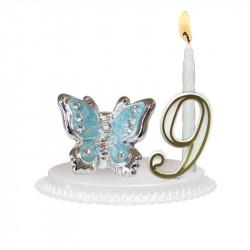 "Porte-bougies ""ANIMAUX"" : Papillon avec strass"