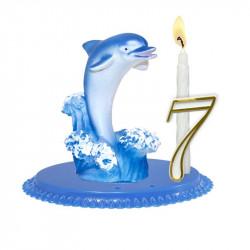 "Porte-bougies ""ANIMAUX"" : Dauphin sur corail"