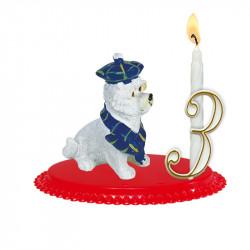 "Porte-bougies ""ANIMAUX"" : Scottish terrier"