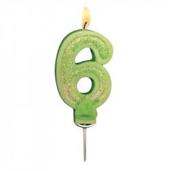 Bougies Chiffre vert à paillettes N°6