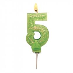 Bougies Chiffre vert à paillettes N°5
