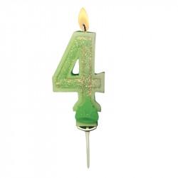 Bougies Chiffre vert à paillettes N°4