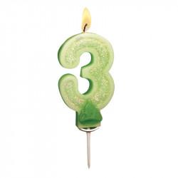Bougies Chiffre vert à paillettes N°3