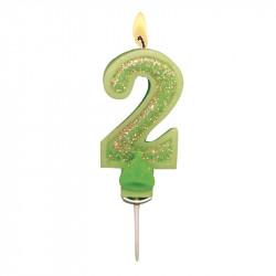 Bougies Chiffre vert à paillettes N°2