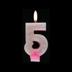 Bougie chiffre rose n°5 pailleté avec support, sous blister