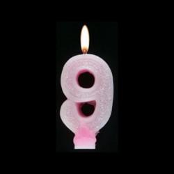 Bougie chiffre rose n°9 pailleté avec support, sous blister